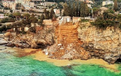 Italian Cliffside Cemetery, and Its Coffins, Carried Away by a Landslide